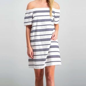 Maison Jules Striped Off The Shoulder Dress NWT